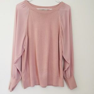 LOFT Blush Pink Sweater Top Sheer Long Sleeves
